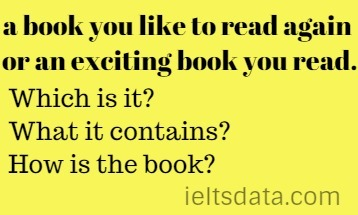 a book you like to read again or an exciting book you read.