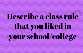 Describe a class rule that you liked in your school/college