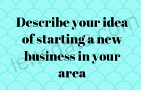 Describe your idea of starting a new business in your area