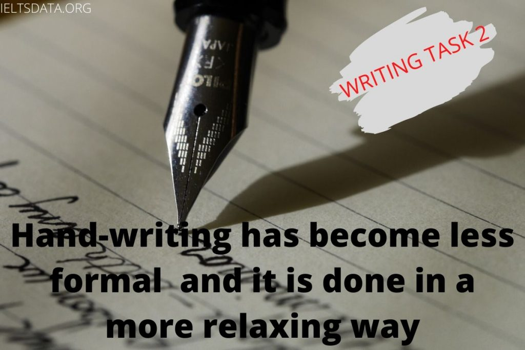 Hand-writing has become less formal and it is done in a more relaxing way