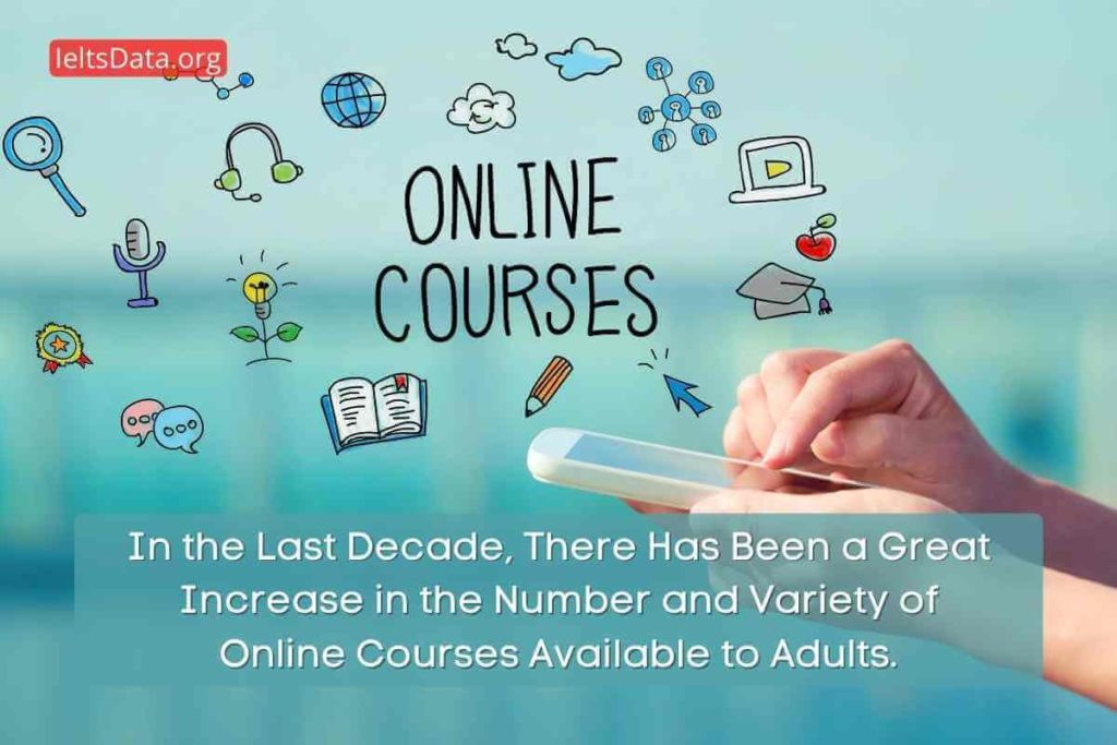 In the Last Decade, There Has Been a Great Increase in the Number and Variety of Online Courses Available to Adults.